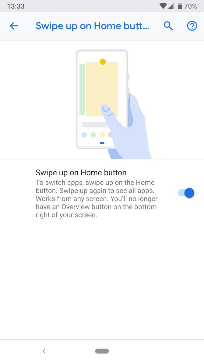 Жесты в Android 9