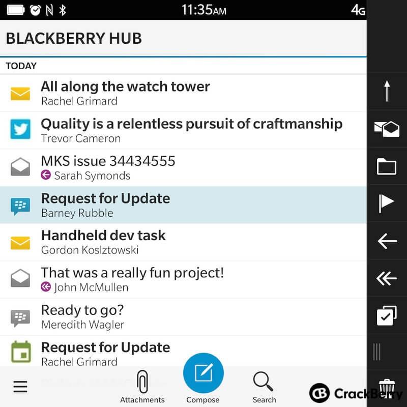 Как выглядел Blackberry HUB на BB 10