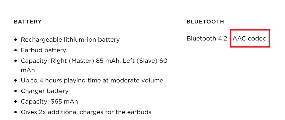 Технические характеристики беспроводных наушников