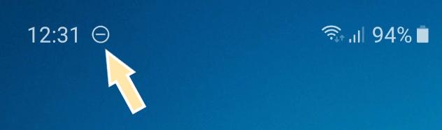 Иконка знак СТОП на Android в режиме не беспокоить
