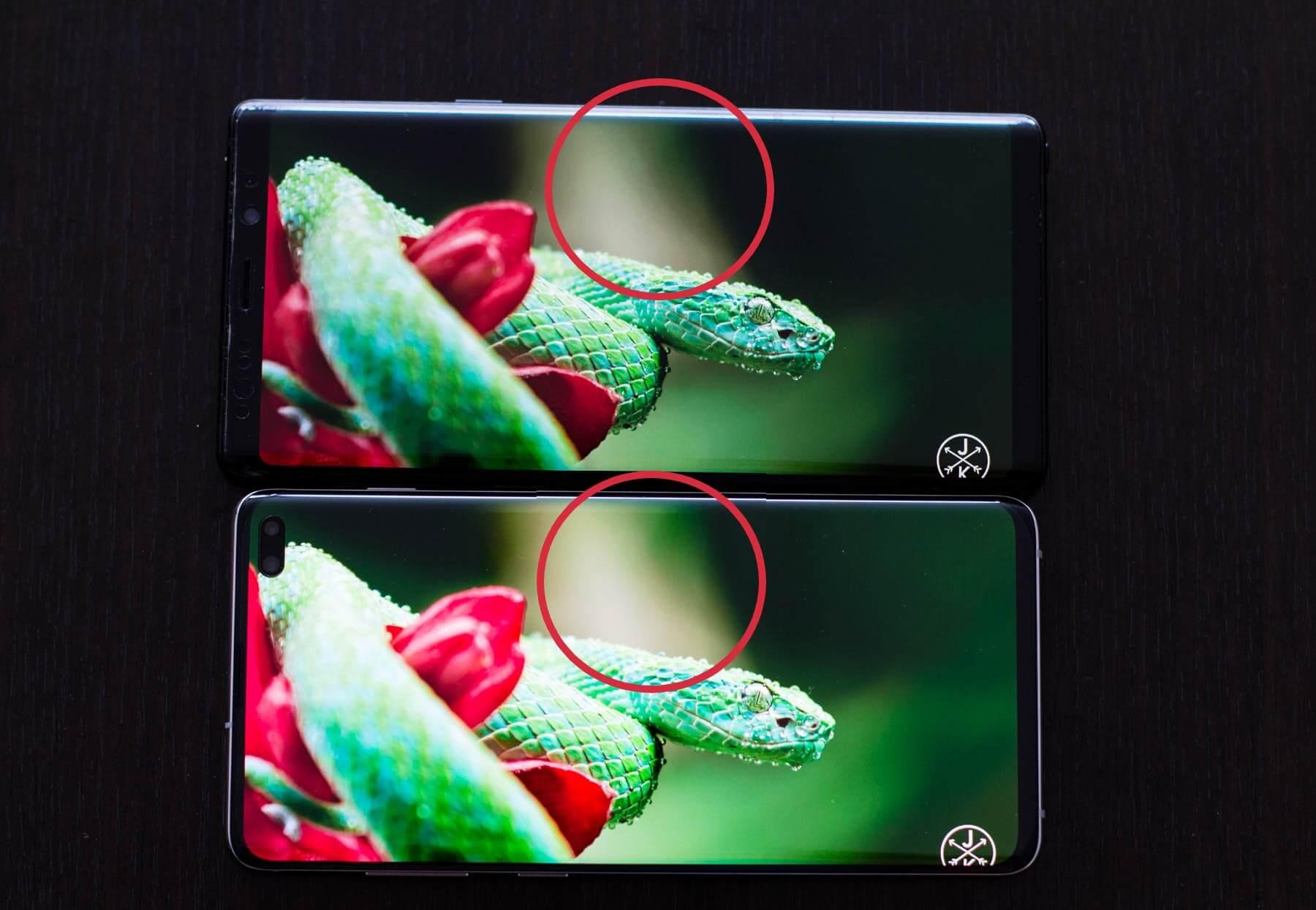 Сравнение экрана Galaxy Note 9 и Galaxy S10 Plus
