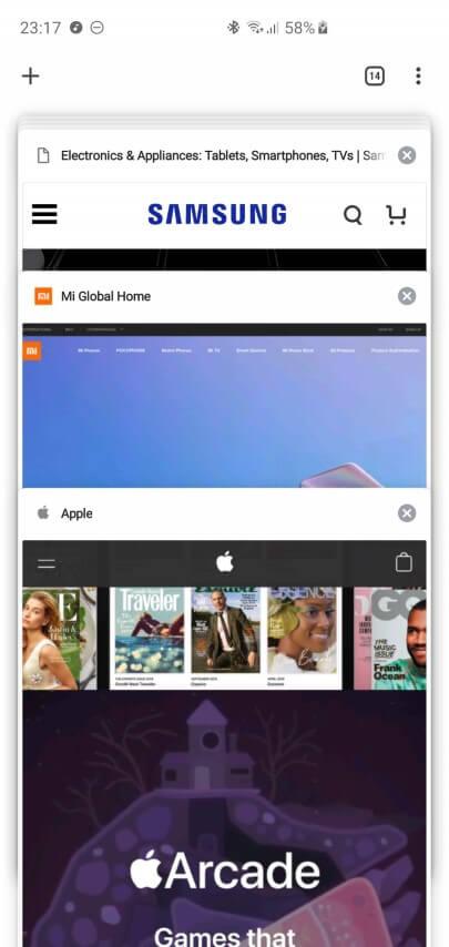 Открытые вкладки в Google Chrome