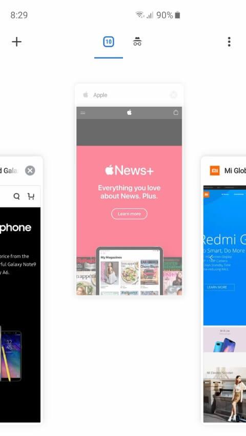 Смахните вверх, чтобы закрыть вкладку в браузере Chrome на Android