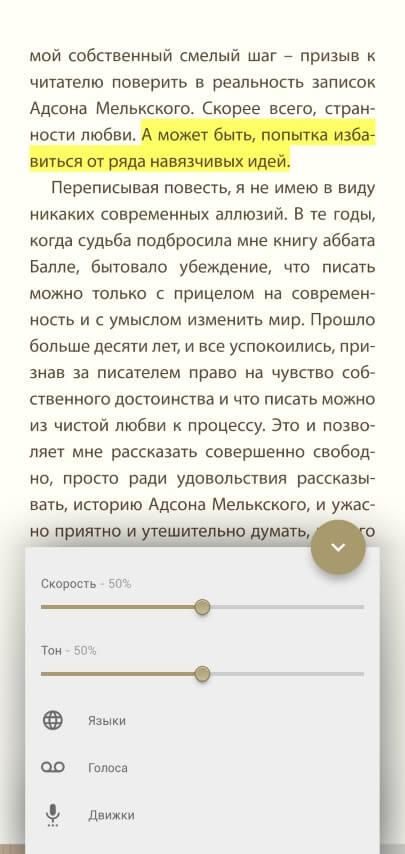 Настройка синтеза речи в читалке eReader Prestigio