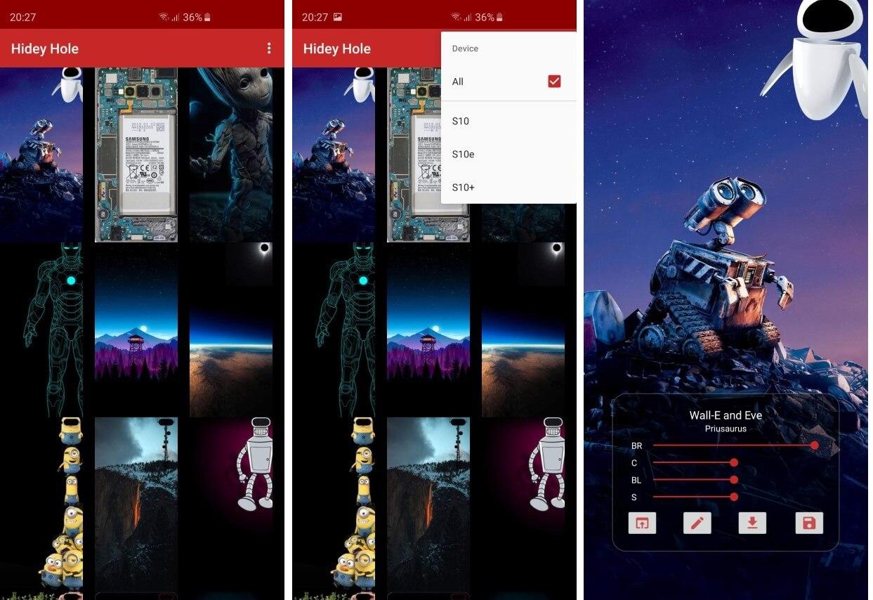 Приложение обои, адаптированные для Galaxy S10 выреза
