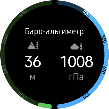 Виджет барометра на Galaxy Watch Active