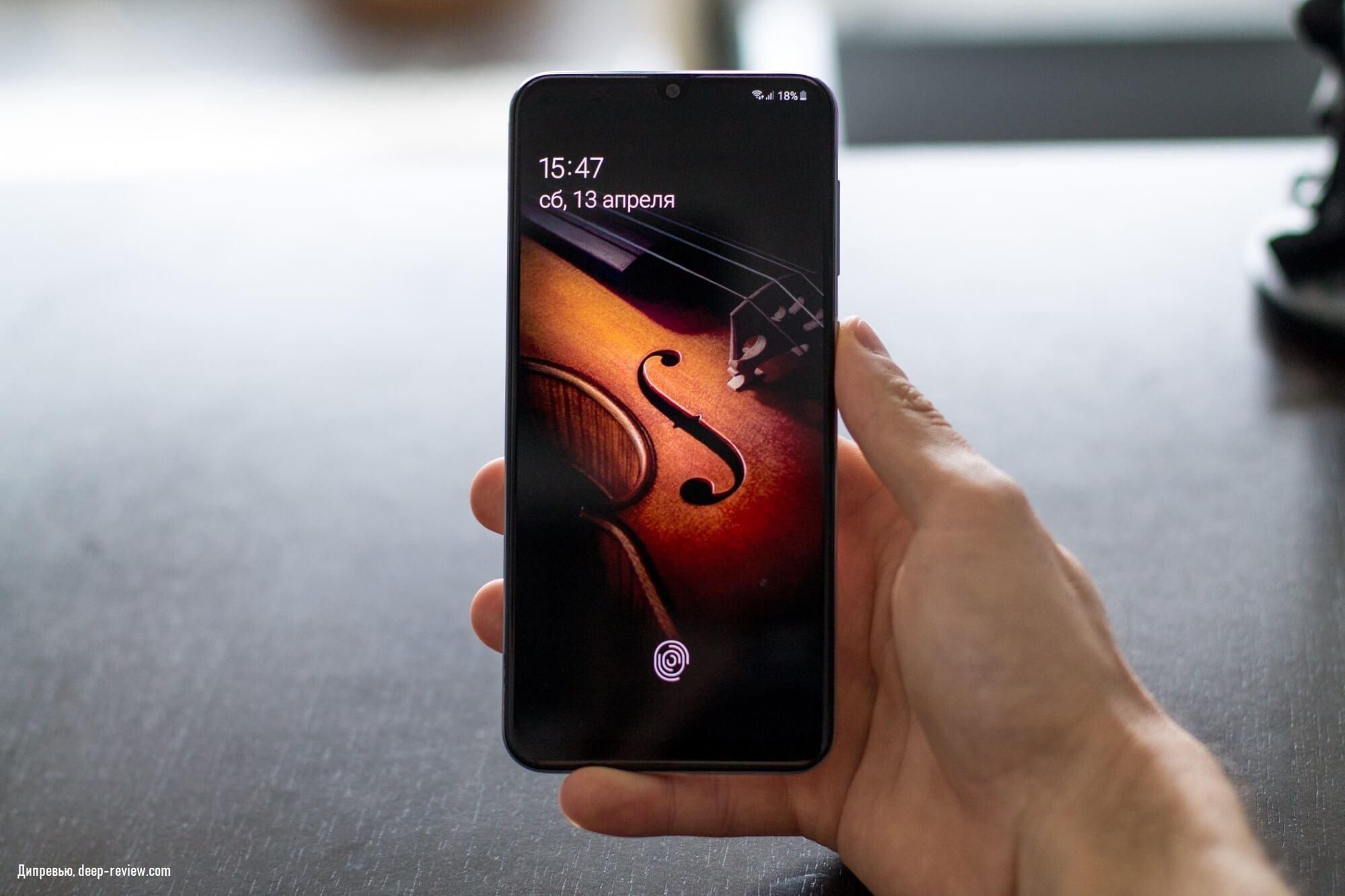 Удобное расположение кнопки питания на Galaxy A50
