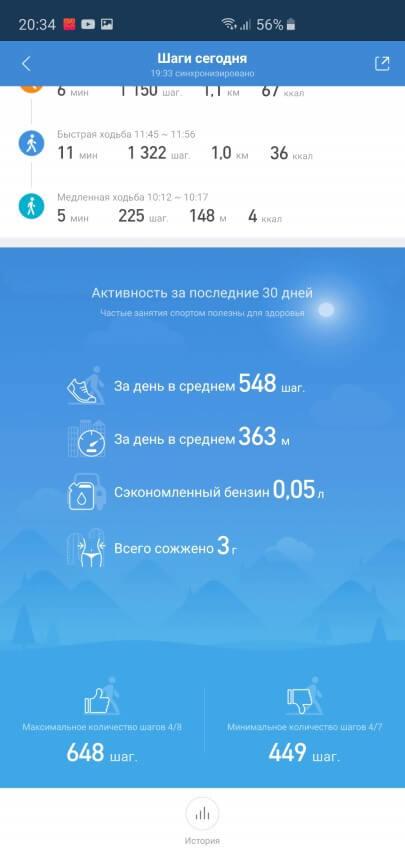 Отчет об активности за день в Xiaomi Mi Fit