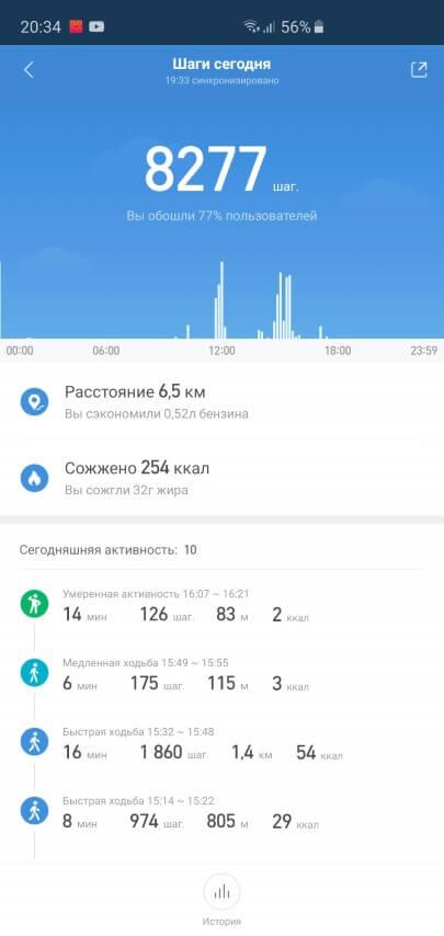Отчет об активности за день в Xiaomi Mi Band 3