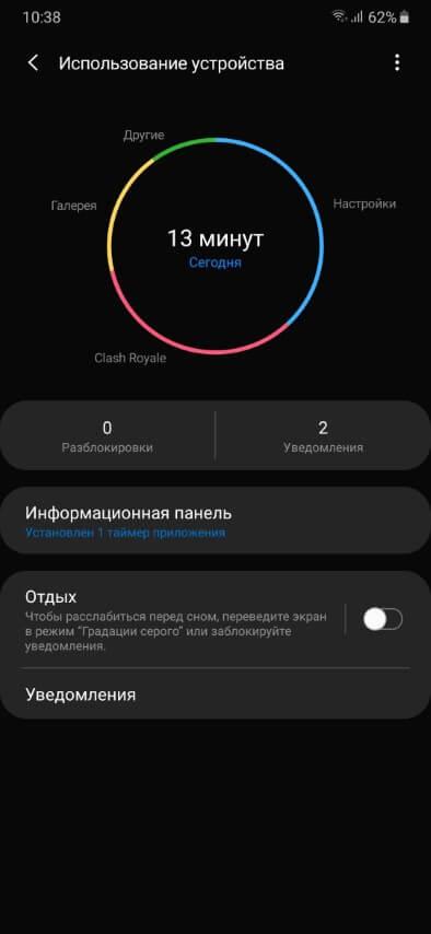 Отчет об использовании смартфона One UI