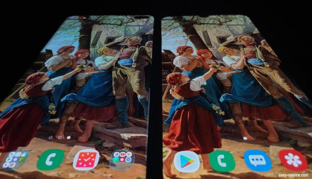Сравнение экранов Galaxy A50 и Galaxy S10 Plus под углом