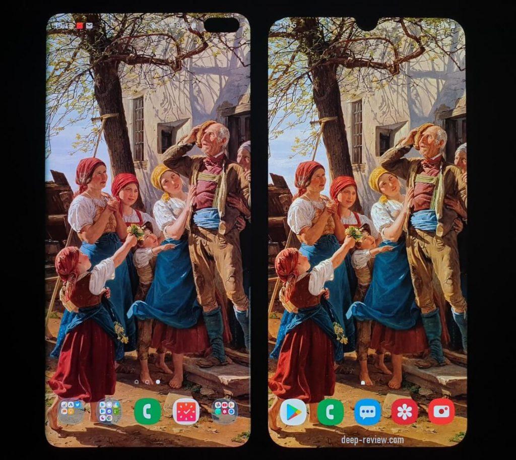Сравнение экранов Galaxy A50 и Galaxy S10 Plus спереди