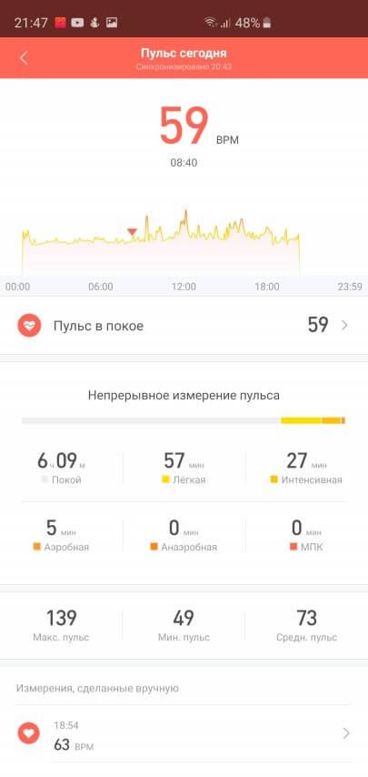 Отчет об измерении пульса фитнес-браслета Mi Band 3