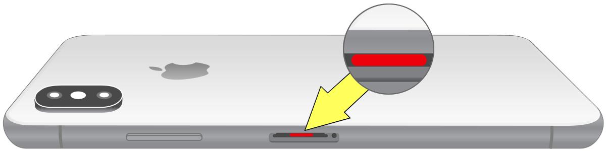 Индикатор контакта с жидкостью на iPhone