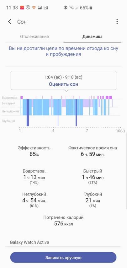 Фазы сна в Samsung Health с часов Galaxy Watch Active