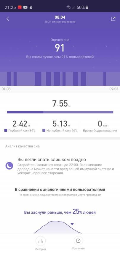 Отчет о сне в Xiaomi Mi Band 3