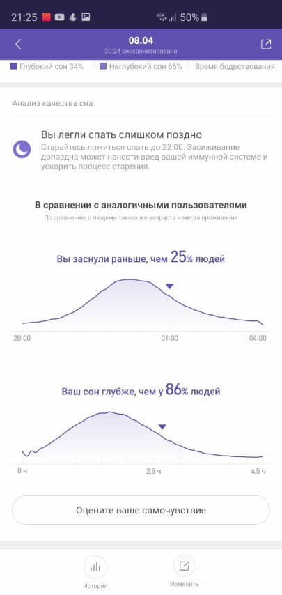 Анализ сна в Xiaomi Mi Fit