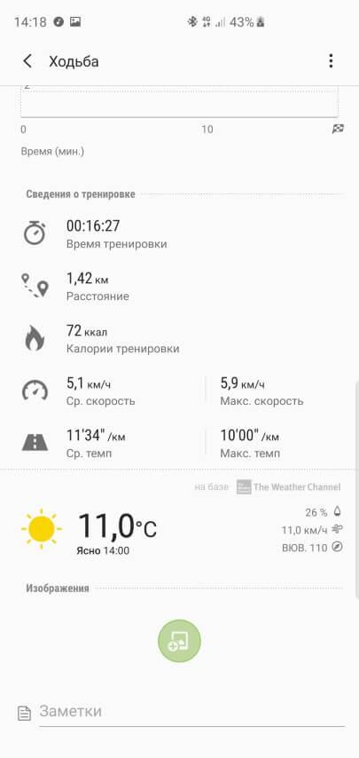 Детали автоматической тренировки Samsung Galaxy Watch Active