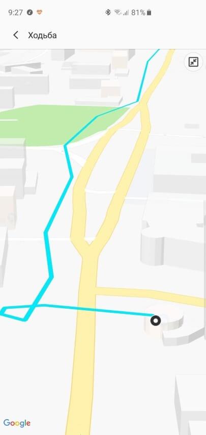 Маршрут прогулки\пробежки на карте с Galaxy Watch Active