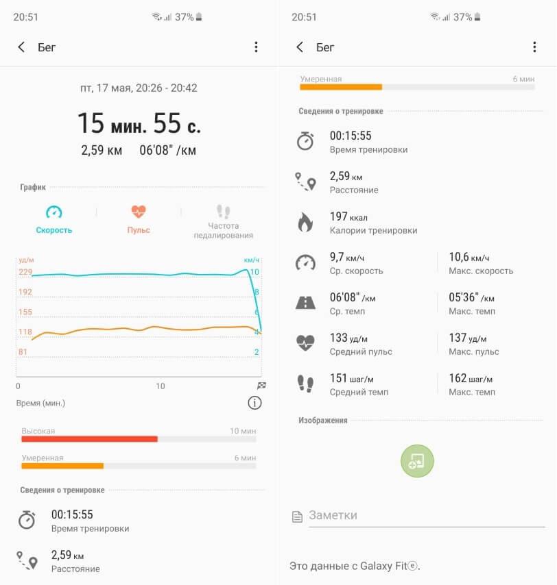 Автоматический учет активности на Samsung Galaxy Fit-e