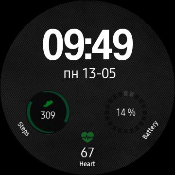 Минималистичный цифровой электронный циферблат для Gear S3