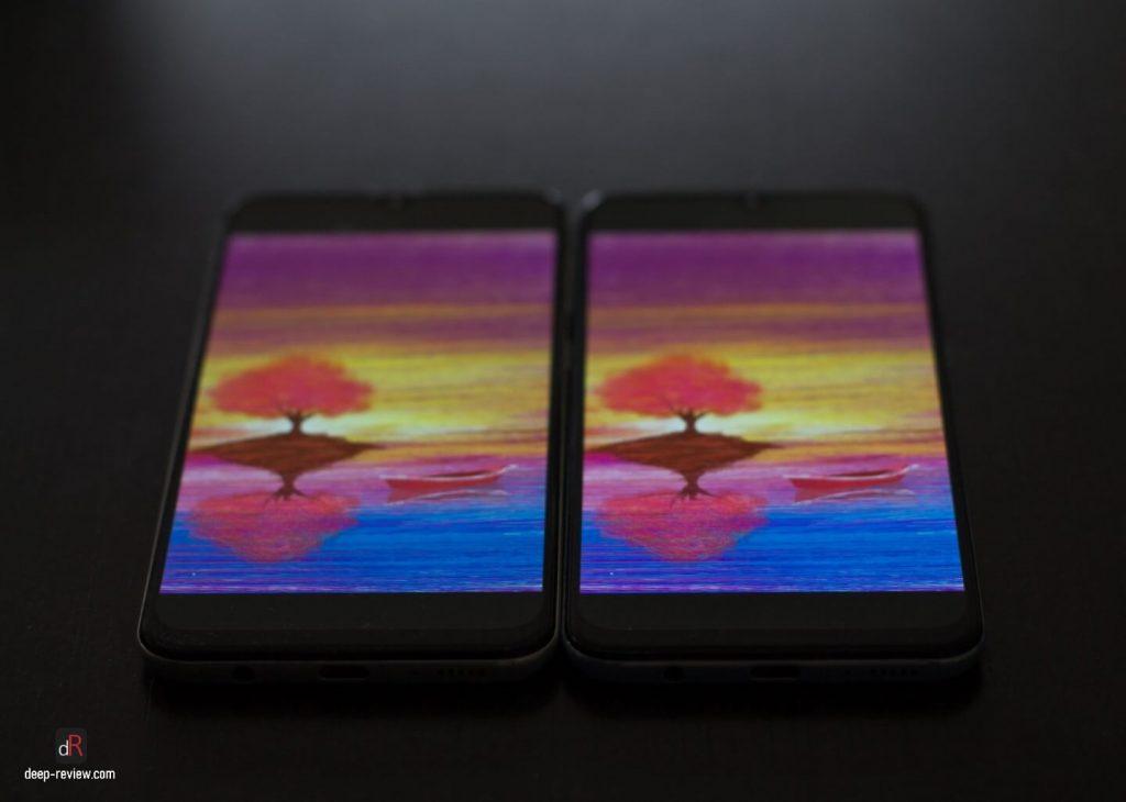 Сравнение экранов Galaxy A50 и A30 под углом