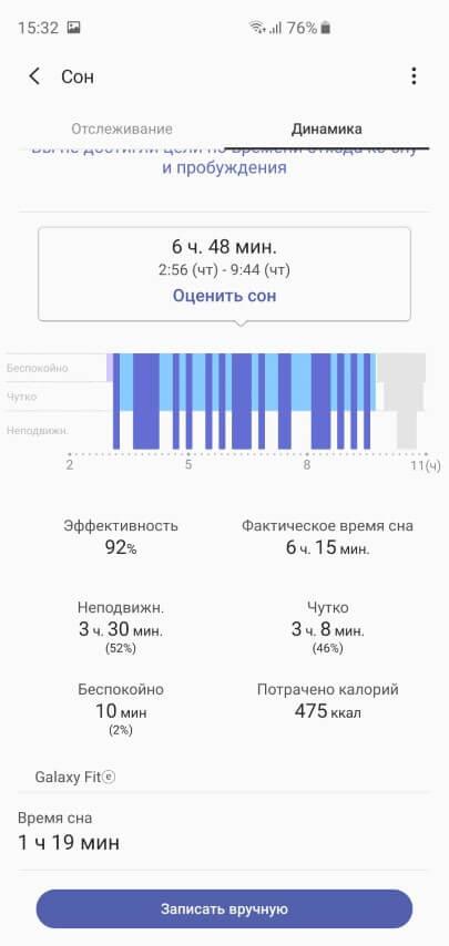 Отчет о сне в браслете Galaxy Fit-e