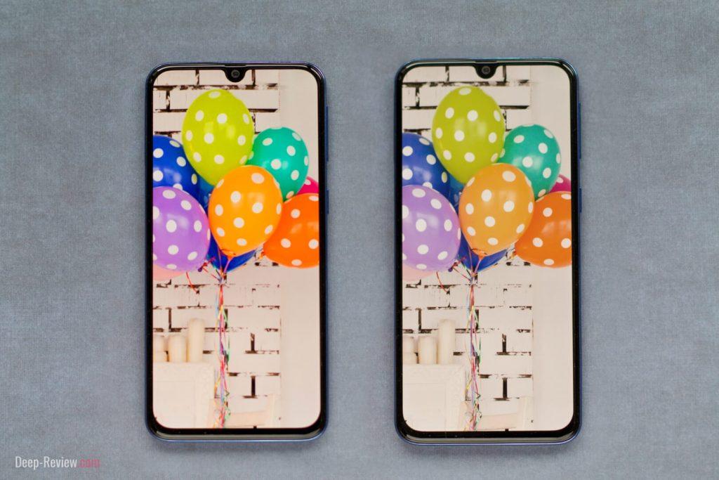 Сравнение двух режимов работы AMOLED экрана Galaxy A40 (адаптивный и основной)