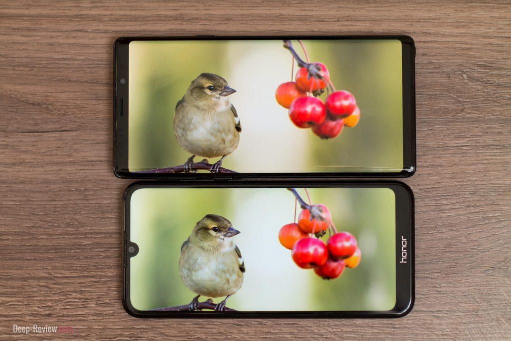 сравнение экранов honor 8a и galaxy note 9