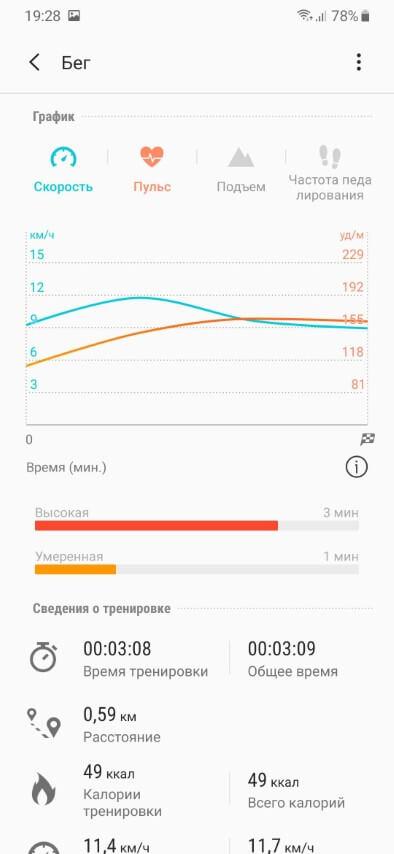 отчет о пробежке только с Galaxy Fit + смартфоном 3