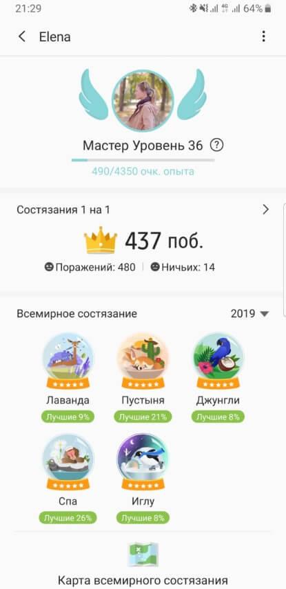 Пример 1 всемирных состязаний по шагам в Samsung Health