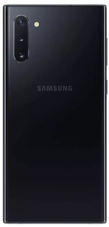 черный samsung galaxy note 10 сзади