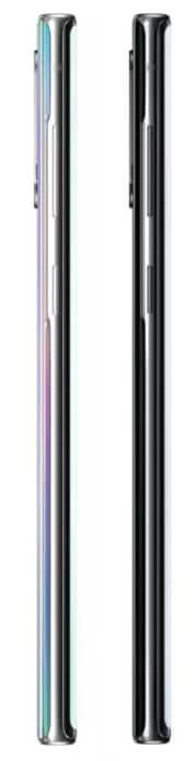 Samsung Galaxy Note 10 слева и справа