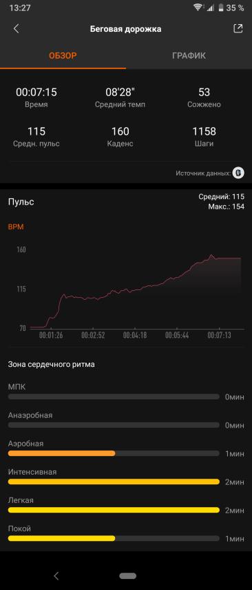 Тренировка с Mi Band 4 без GPS