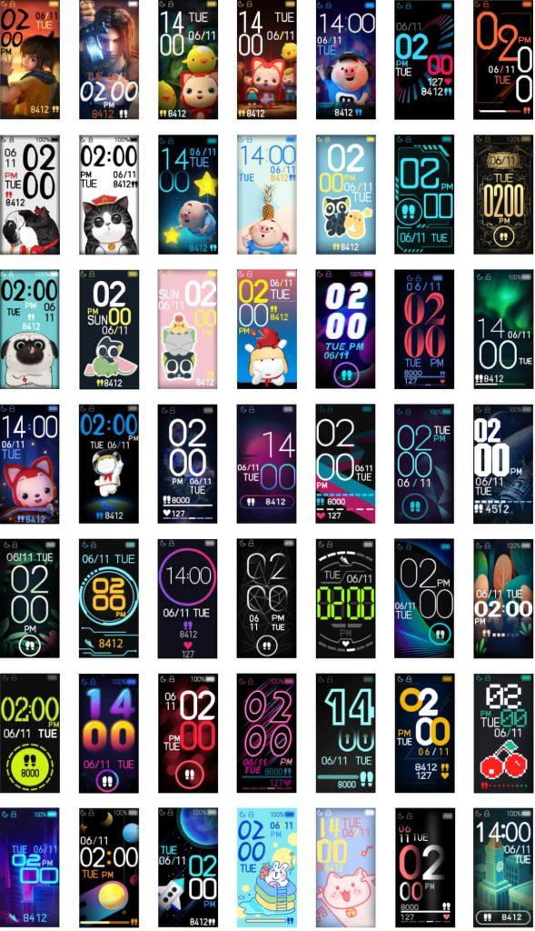 список всех циферблатов на Xiaomi Mi Band 4