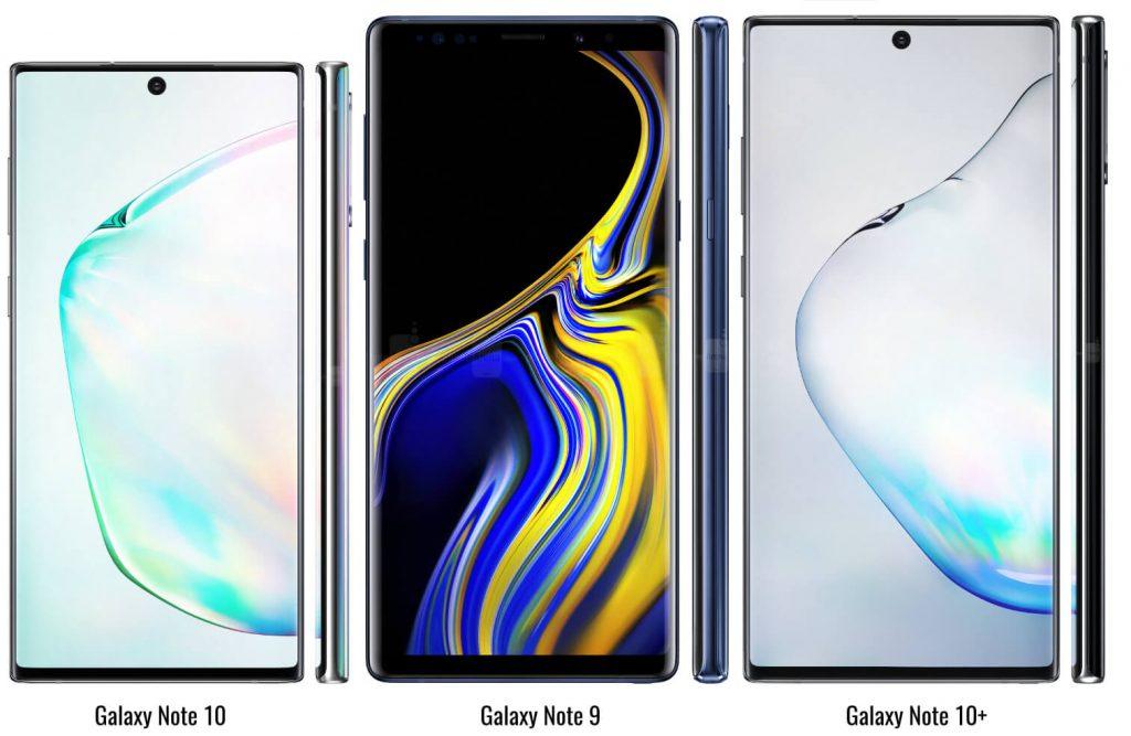 сравнение размеров Galaxy Note 9, Galaxy Note 10 и Galaxy Note 10+