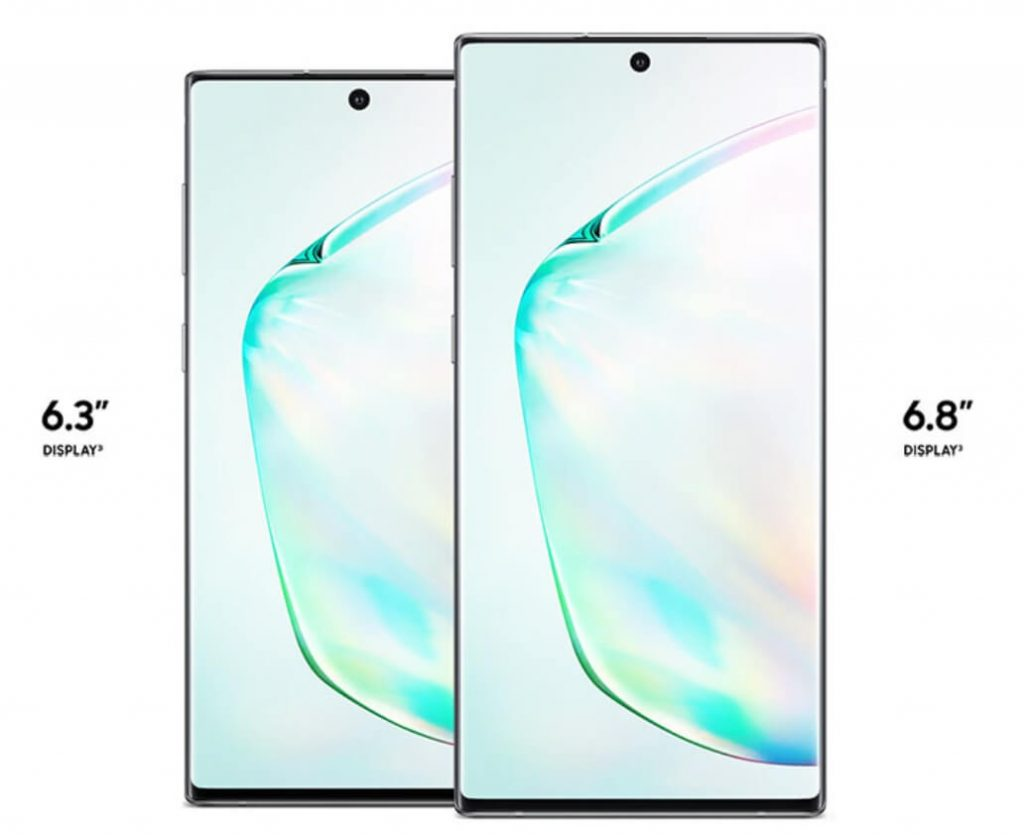 размеры экранов Galaxy Note 10