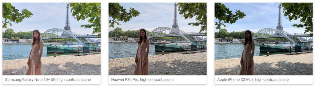 сравнение фотографий Galaxy Note 10, Huawei P30 Pro и iPhone XS Max при высоком контрасте