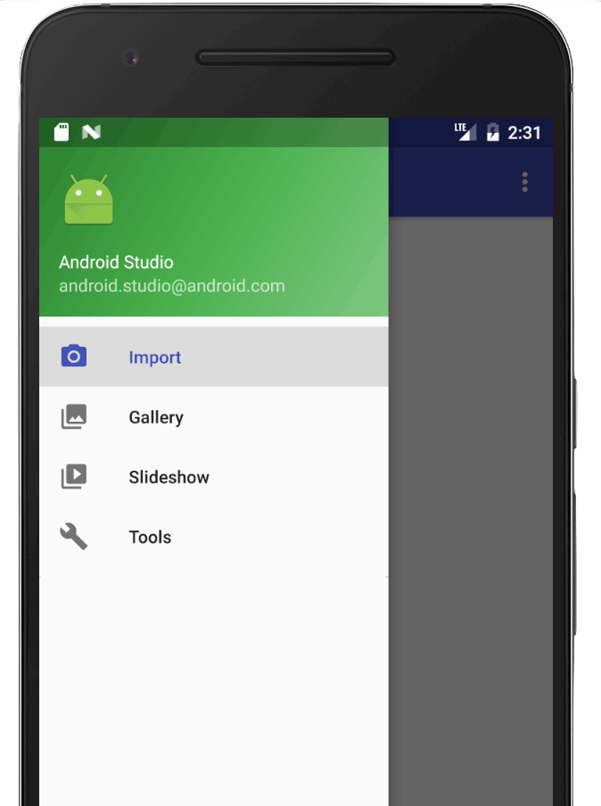 navigation drawer на android