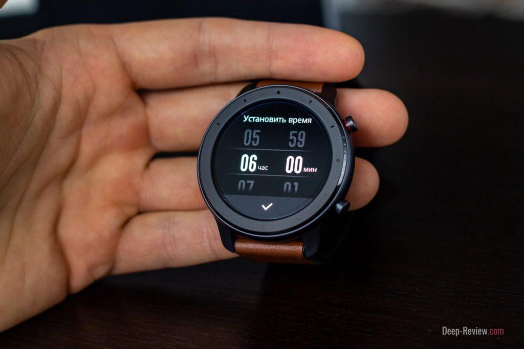 Установка будильника на экране Amazfit GTR