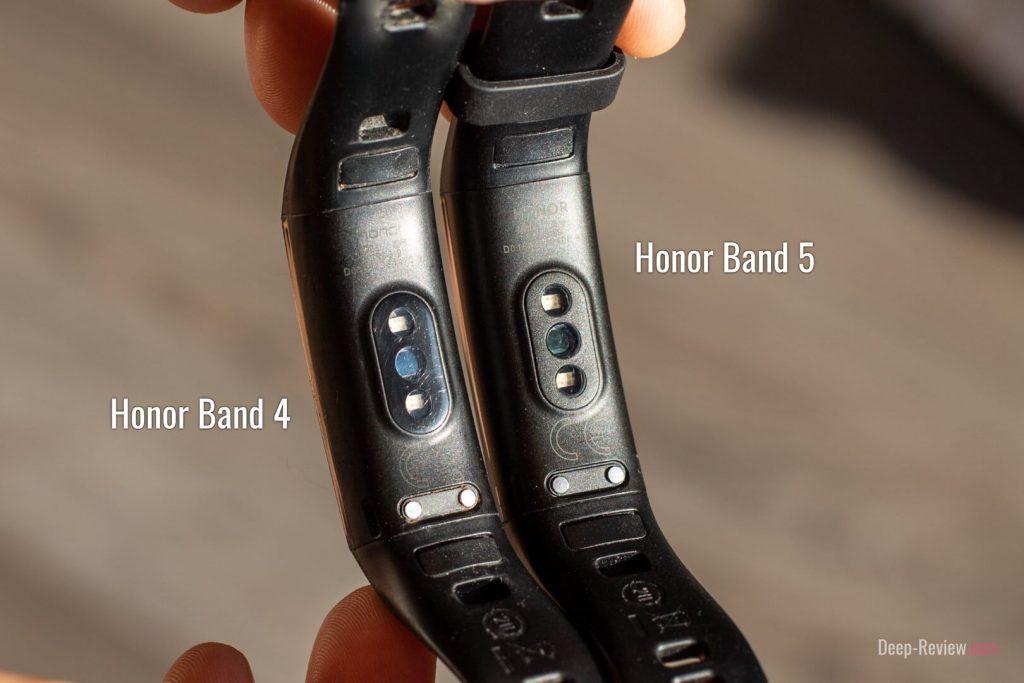 сравнение сенсоров на Honor Band 5 и Honor Band 4