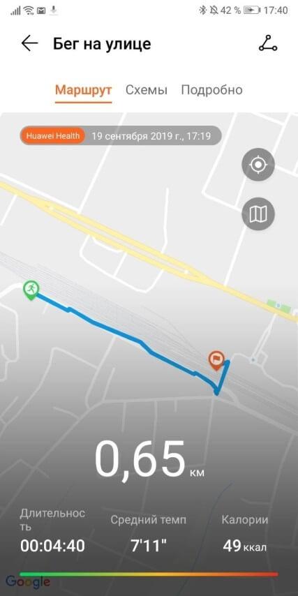маршрут пробежки на Huawei Band 3 Pro