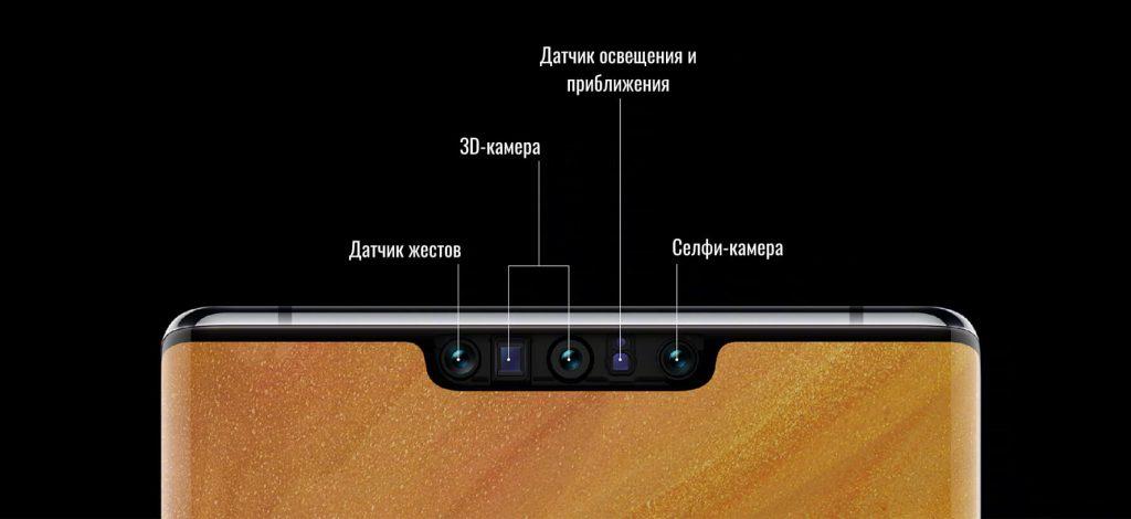 Сенсоры в вырезе экрана Huawei Mate 30 Pro