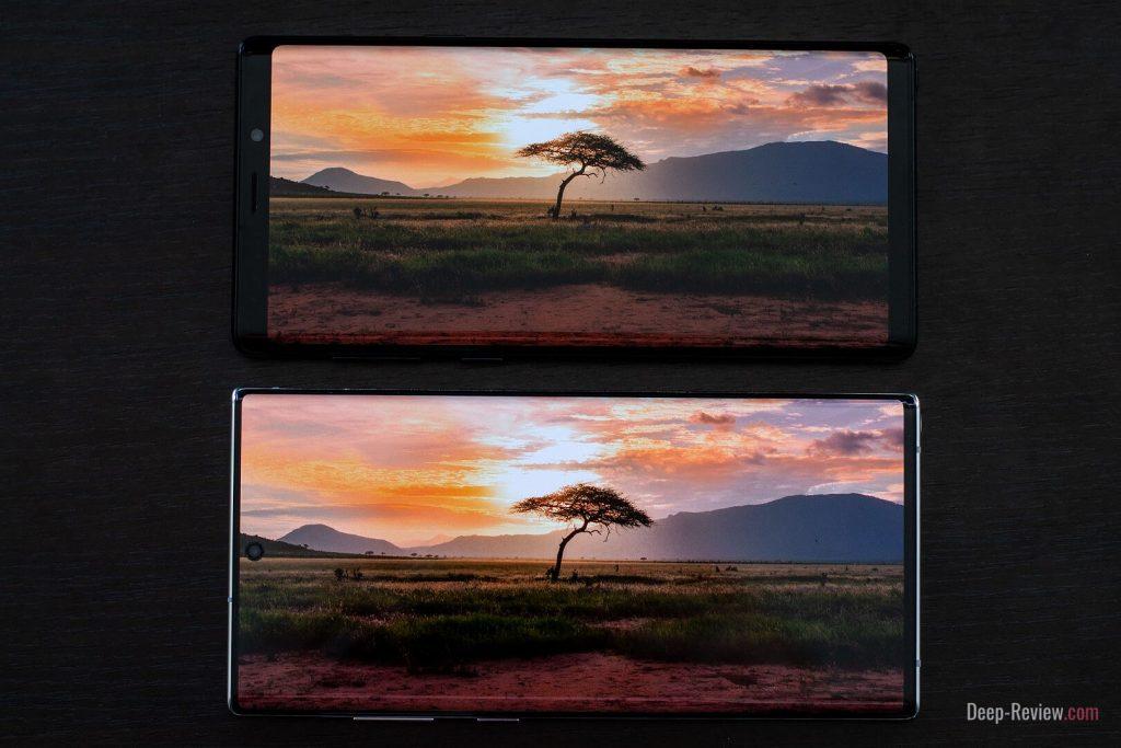 сравнение экранов Galaxy Note 9 и Galaxy Note 10+