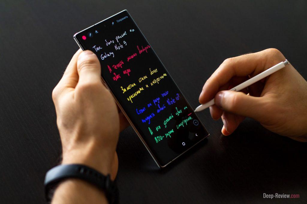 Цветные заметки на выключенном экране пером S Pen на Note 10