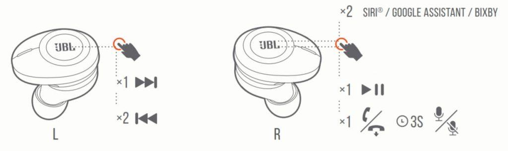 управление наушниками JBL Tune 120 TWS