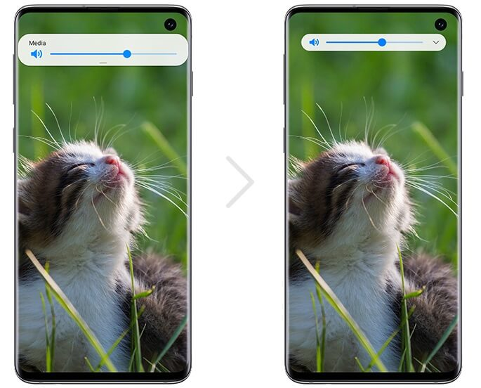 Новое окно регулировки громкости в One UI 2