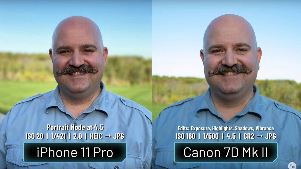 сравнение камеры iphone с камерой Canon 7D Mark II на портретном режиме