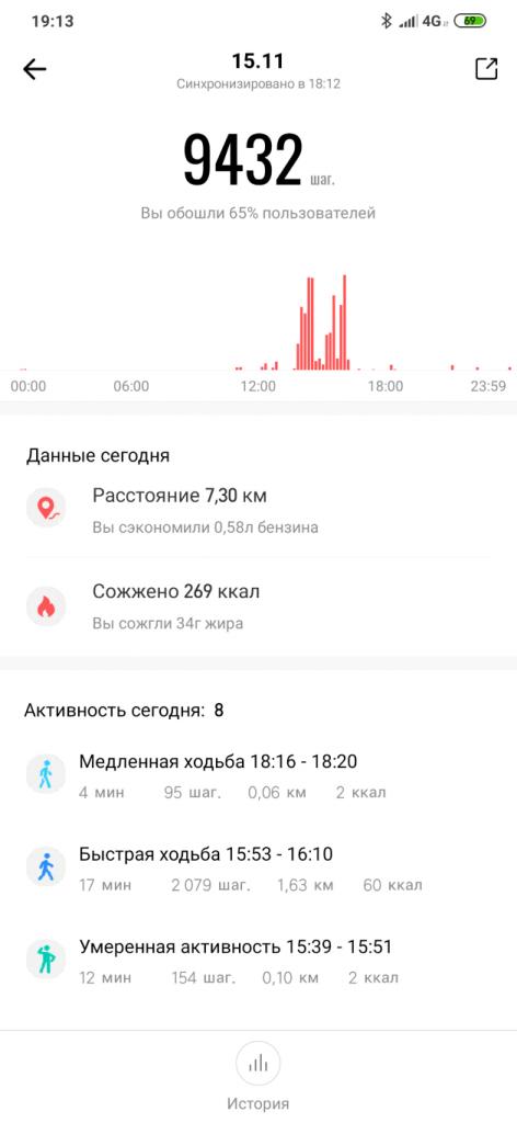 Отчет о ежедневной активности в Amazfit