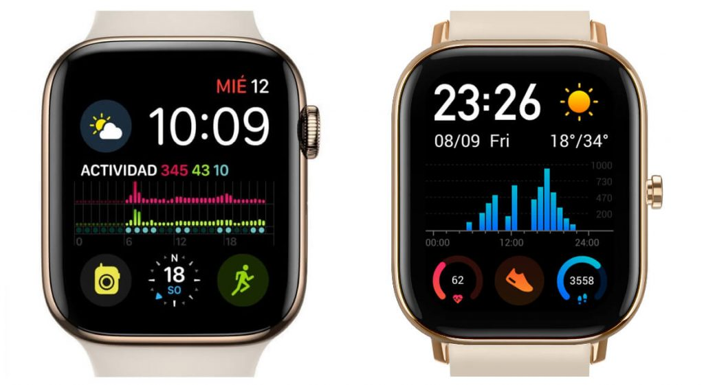сравнение дизайна Apple Watch и Amazfit GTS